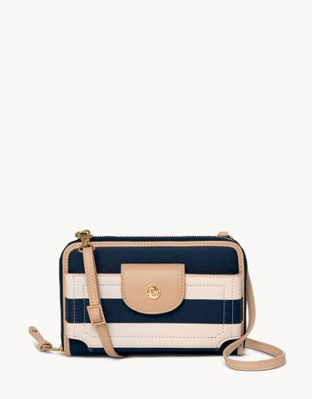 Spartina Multi Phone Cross Body Navy Stripe