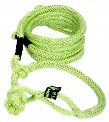 Kinetic Recovery Rope UTV 1/2 Inch x 10 to 20 Foot W/2 Soft Shackle Ends Green and Black VooDoo Offroad