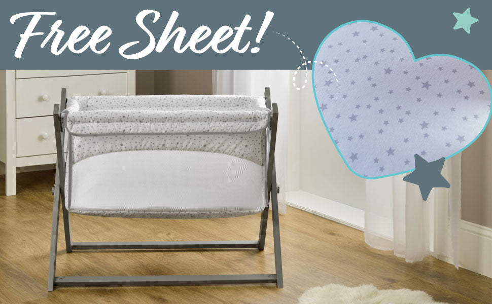 Stars & Stripes Folding Breathable Crib With Free Sheet