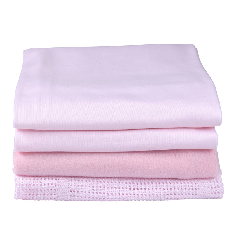 4 Piece Bedding Set - Moses Basket in Pink