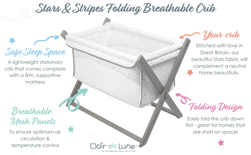 Stars & Stripes Folding Breathable Crib - Features