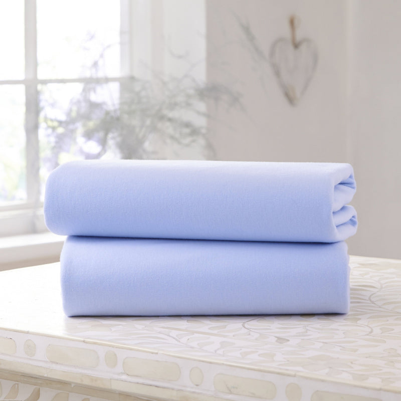 2 Pack Fitted Cotton Cot Bed Sheets in Blue
