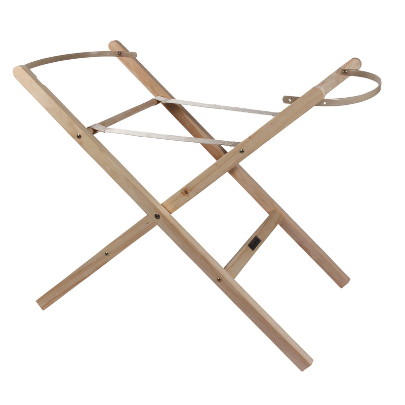 Self Assembly Wooden Folding Moses Basket Stand in Natural