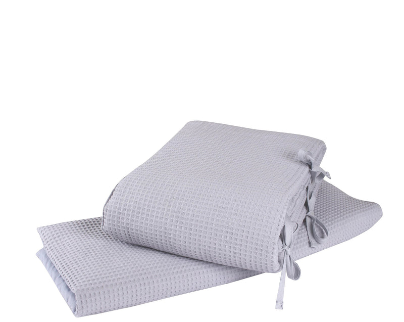 Waffle Crib/Cradle Quilt & Bumper Bedding Set in Grey