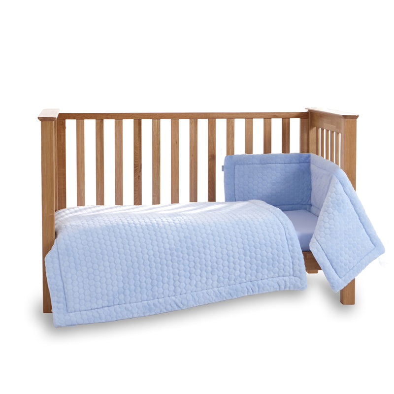 Marshmallow 3 Piece Cot/Cot Bed Quilt & Bumper Bedding Set in Blue