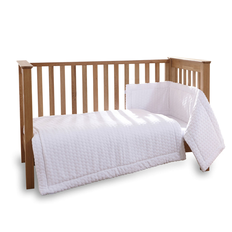 Marshmallow 3 Piece Cot/Cot Bed Quilt & Bumper Bedding Set in White