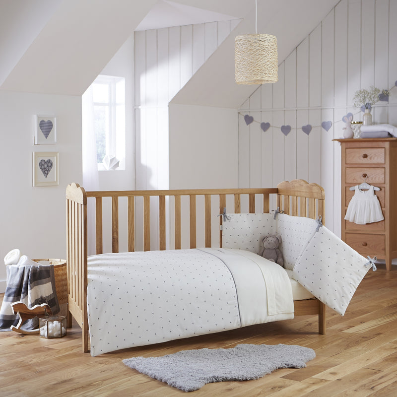 Lullaby Hearts Cot/Cot Bed Quilt & Bumper Bedding Set