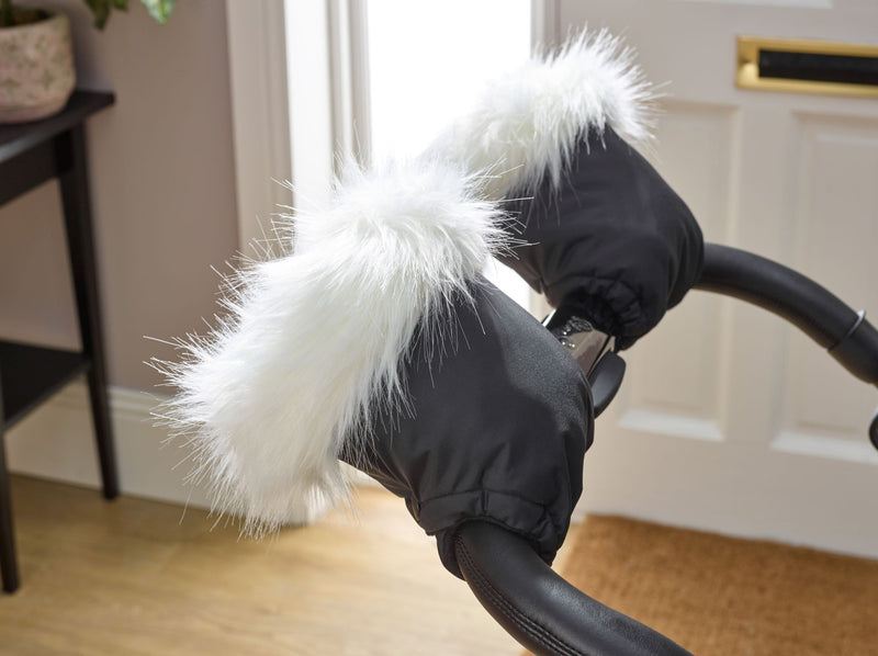 Universal Pushchair/Pram Faux Fur Mittens in White