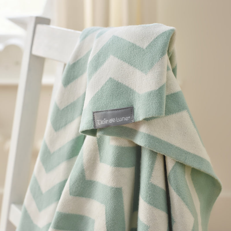 Chevron Blanket in Mint - Detail