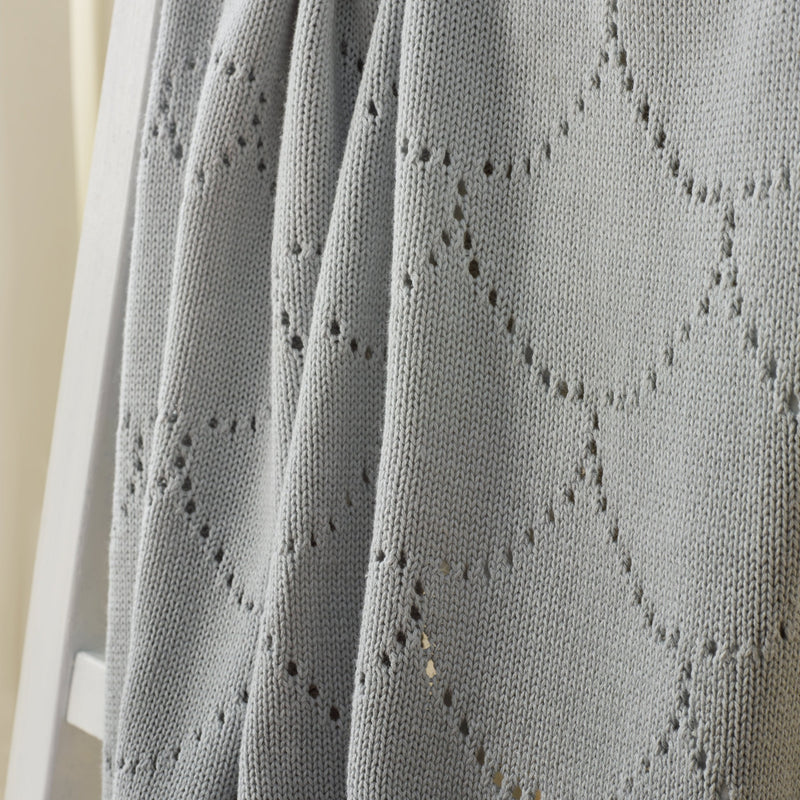 Cotton Ombré Pointelle Blanket in Grey