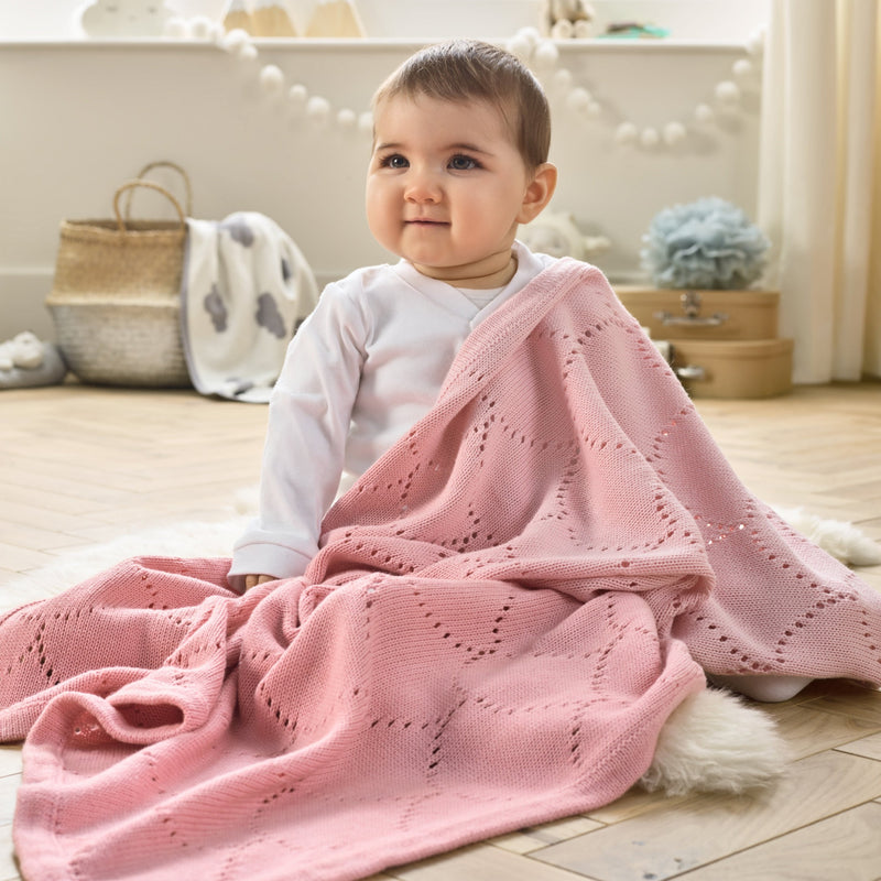 Cotton Ombré Pointelle Blanket in Pink with Baby