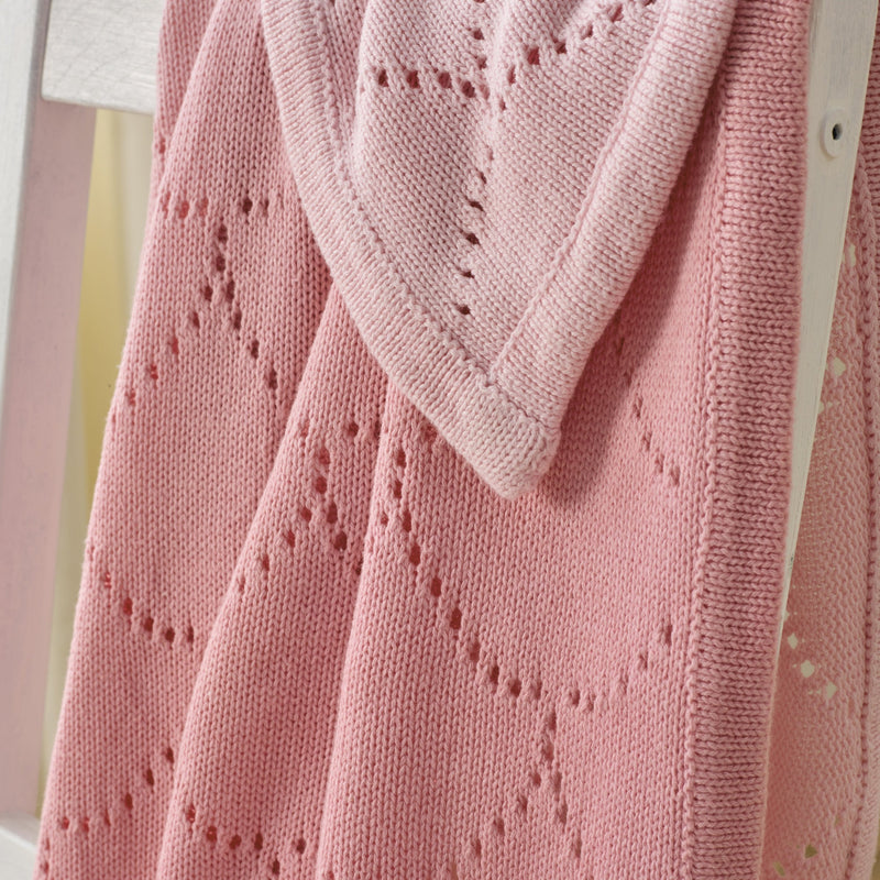 Cotton Ombré Pointelle Blanket in Pink