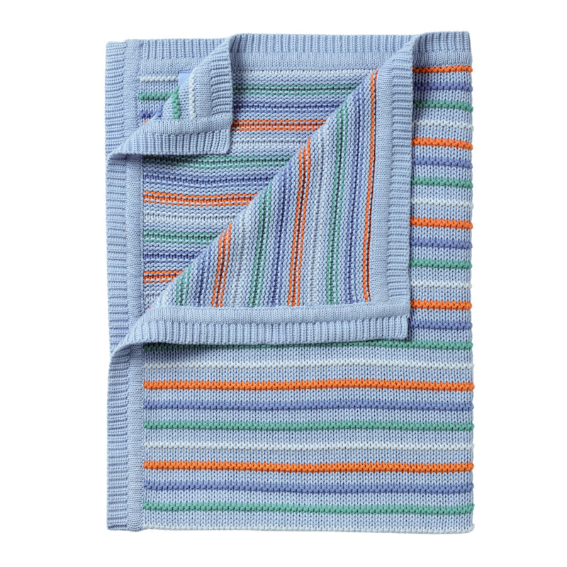Stripe Thick Knit Blanket in Blue