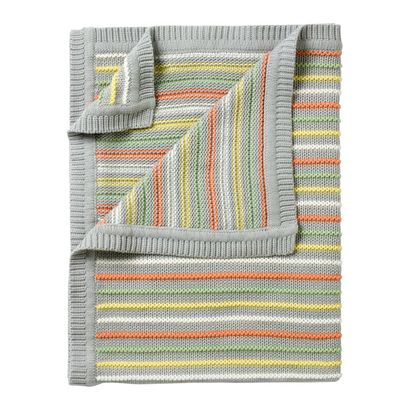 Stripe Thick Knit Blanket in Grey