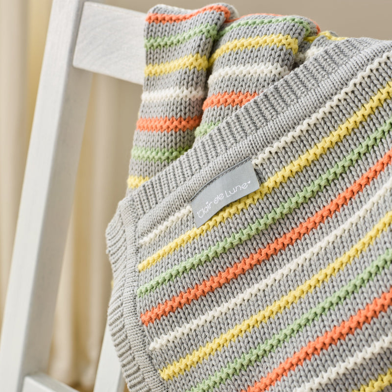 Stripe Thick Knit Blanket in Grey detail