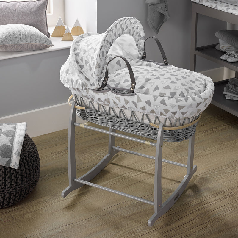 Sparkling Muslin Grey Wicker Moses Basket