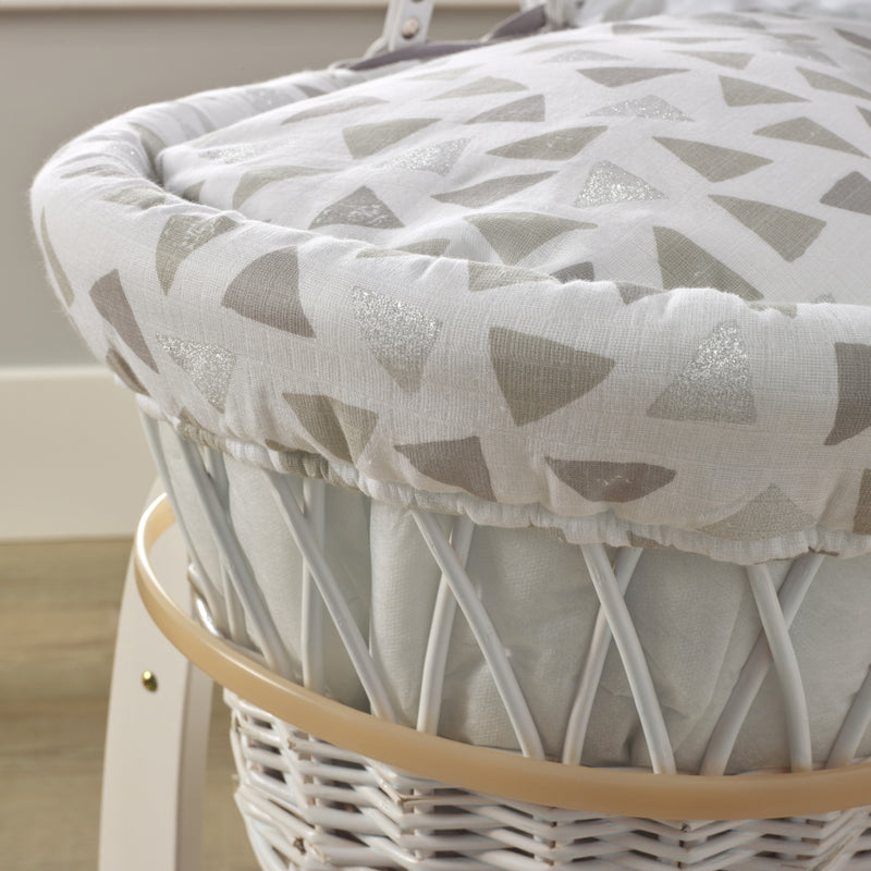 Sparkling Muslin White Wicker Moses Basket