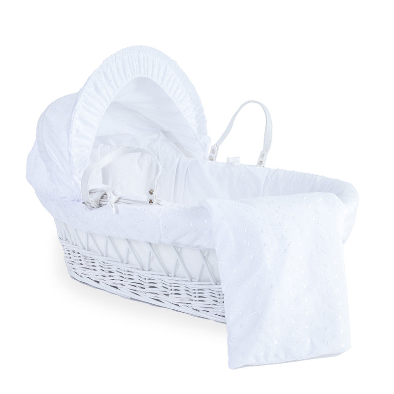 Broderie Anglaise White Wicker Basket