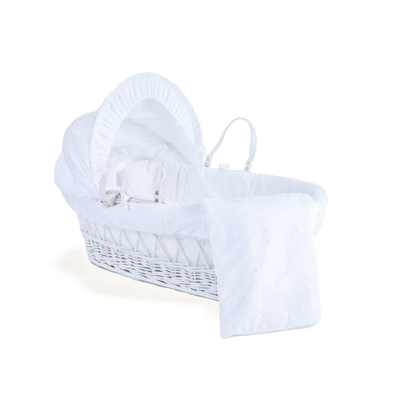 Broderie Anglaise Moses Basket Dressings Bedding Set in White