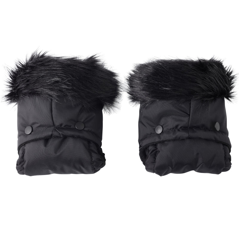 Universal Pushchair/Pram Faux Fur Mittens in Black