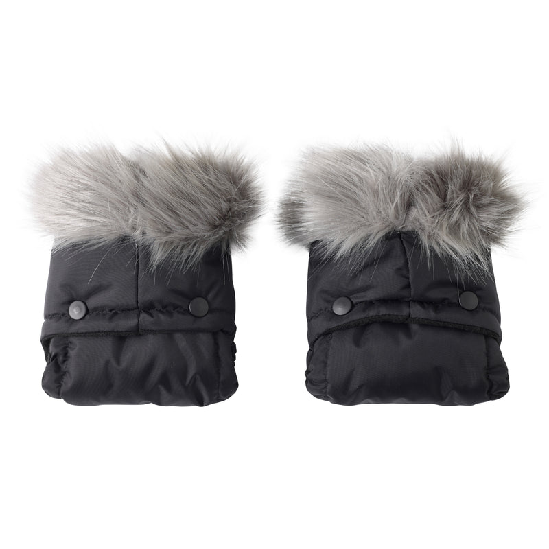 Universal Pushchair/Pram Faux Fur Mittens in Grey