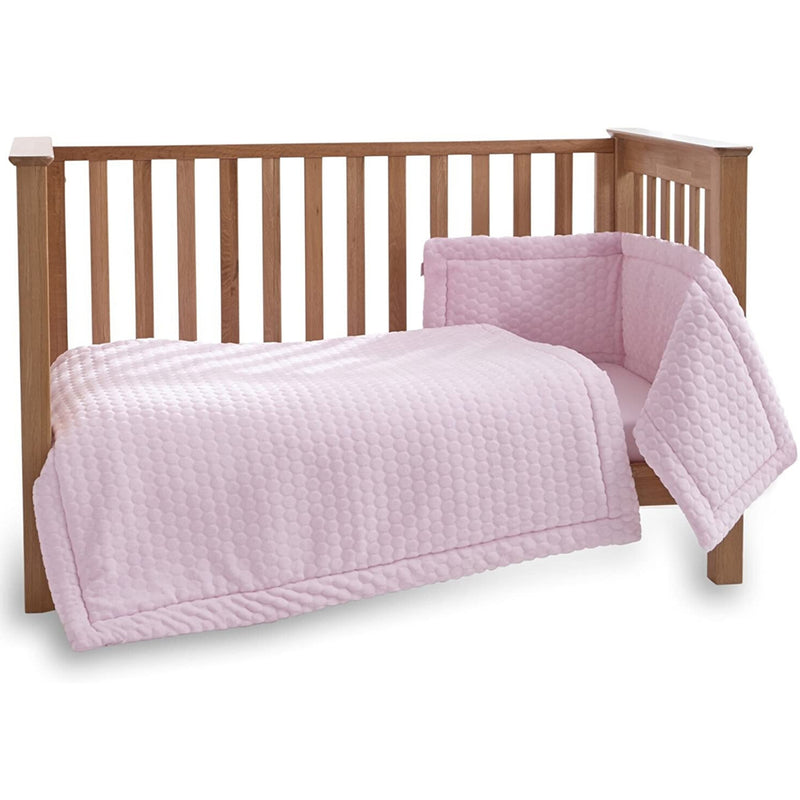 Marshmallow 3 Piece Cot/Cot Bed Quilt & Bumper Bedding Set in Pink