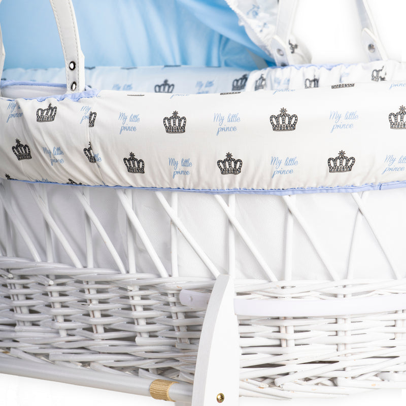 My Little Prince White Wicker Moses Basket