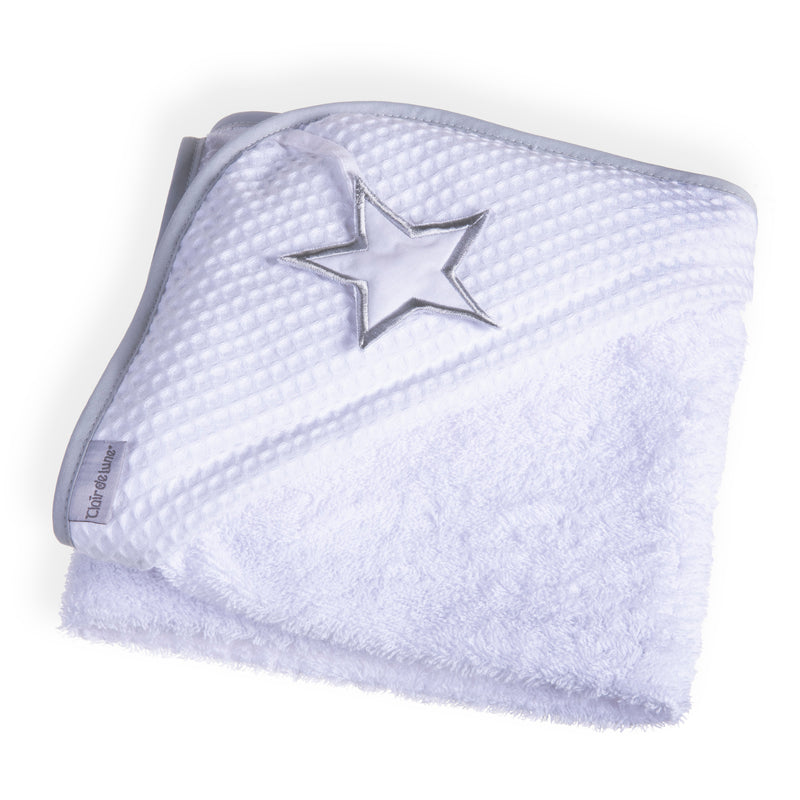 Silver Lining Hooded Towel - White