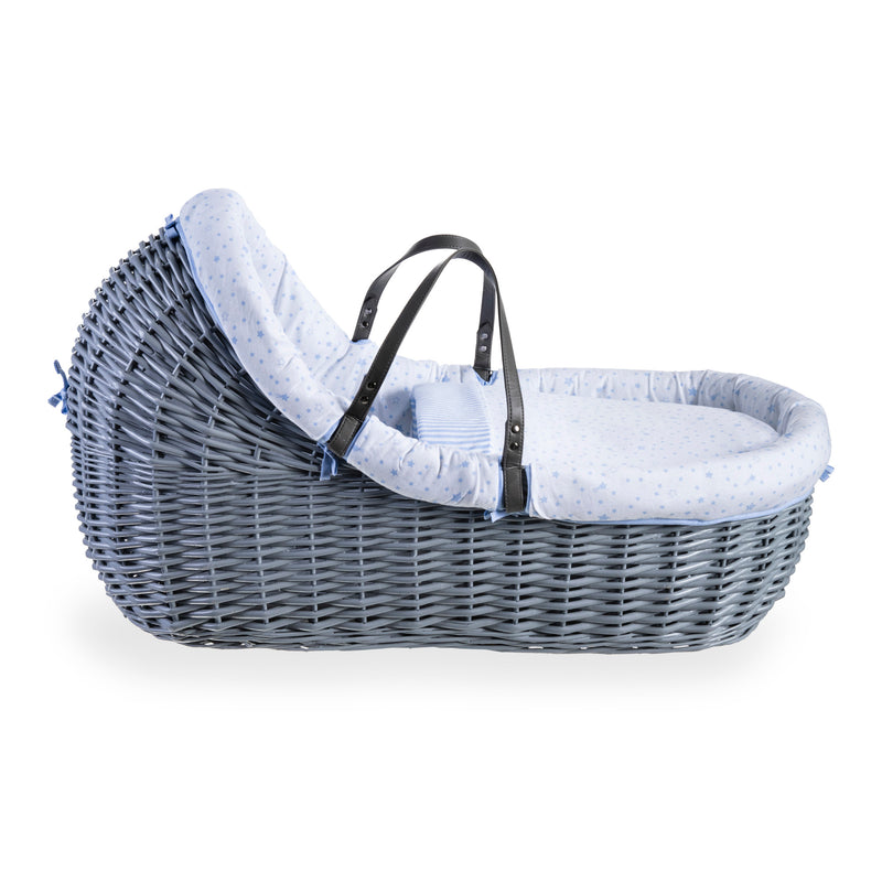 Stars & Stripes Grey Willow Bassinet - Blue