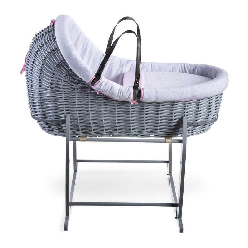 Stars & Stripes Grey Willow Bassinet - Pink