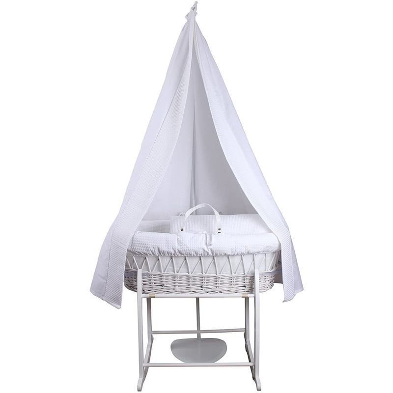 6 Piece Waffle Moses Basket Starter Set in White Waffle/White Wicker