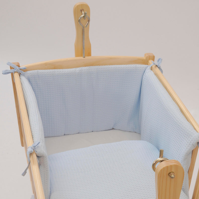 Waffle Crib/Cradle Quilt & Bumper Bedding Set in Blue