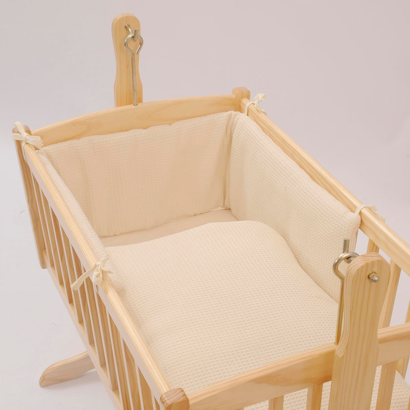 Waffle Crib/Cradle Quilt & Bumper Bedding Set in Cream