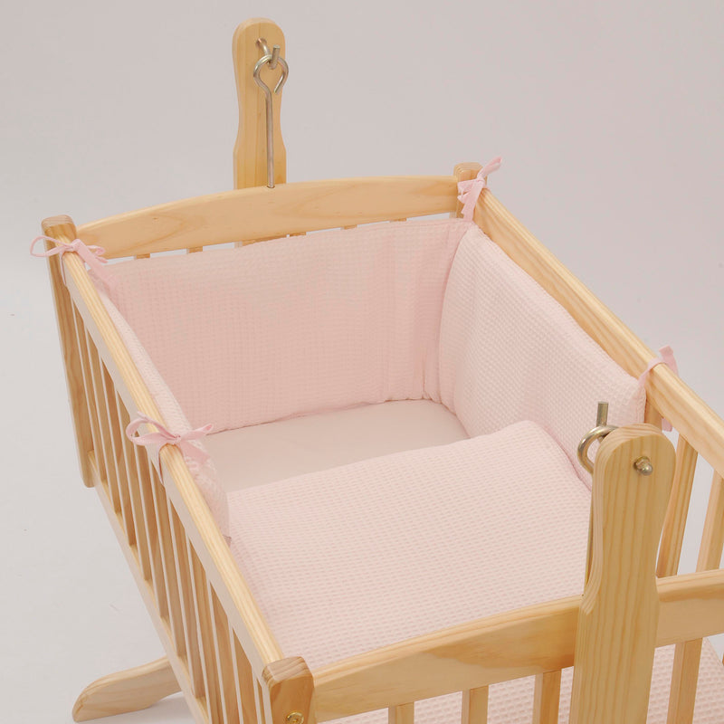 Waffle Crib/Cradle Quilt & Bumper Bedding Set in Pink
