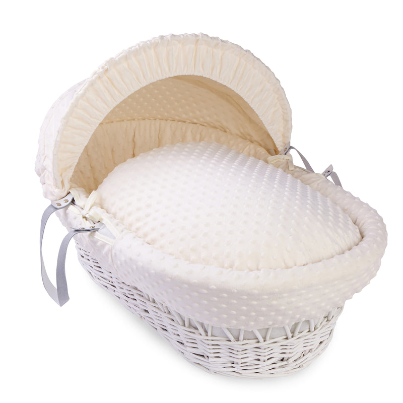 Dimple White Wicker Moses Basket in Cream