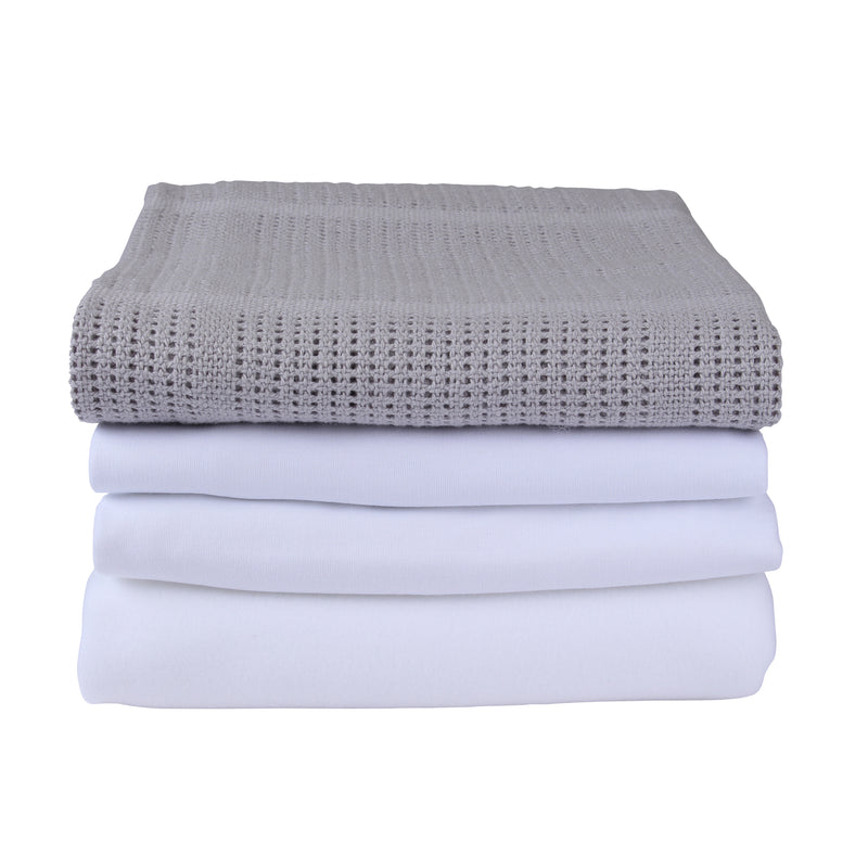4 Piece Bedding Set - Moses Basket in Grey
