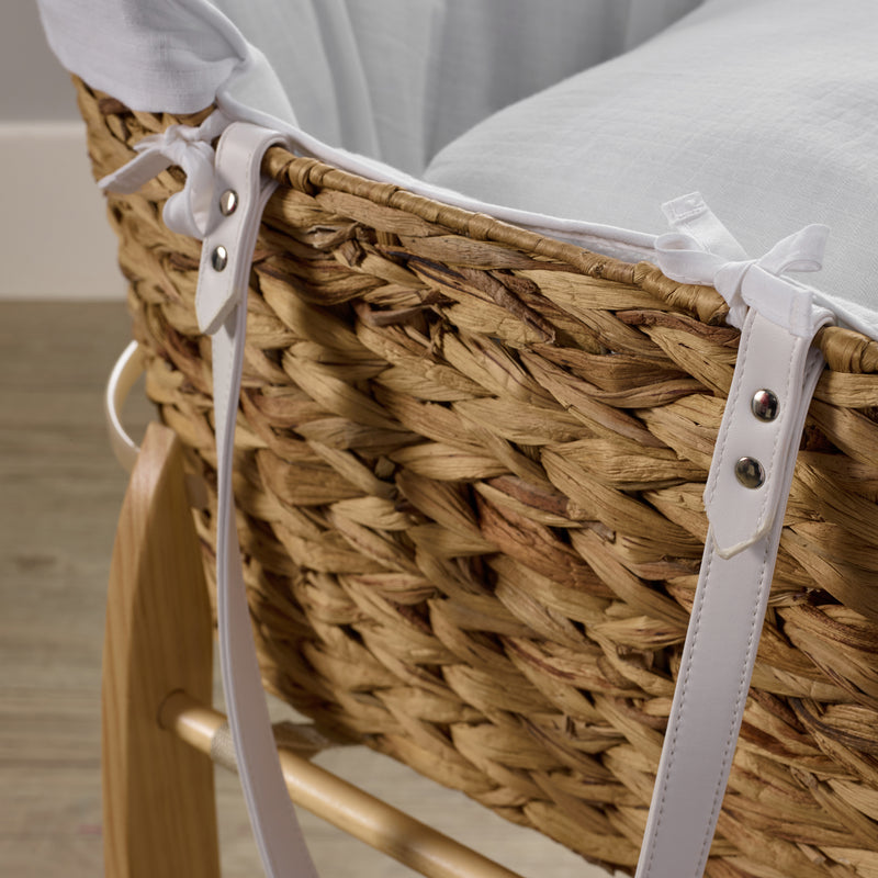Clair de Lune Muslin Hyacinth Moses Basket - White