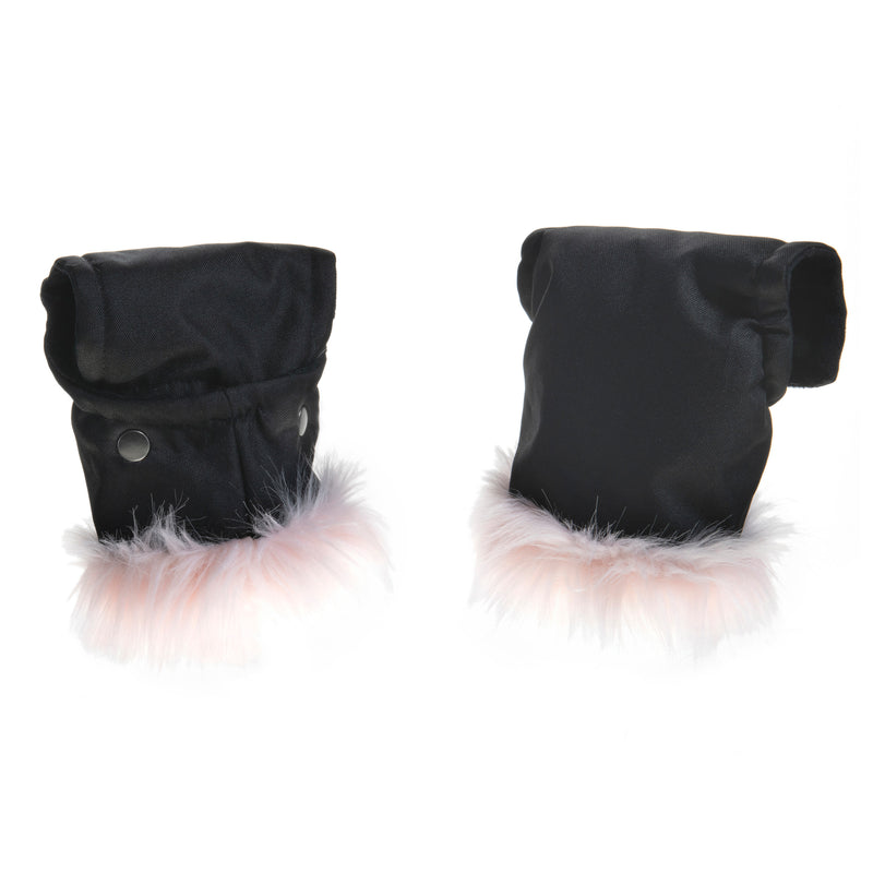 Universal Pushchair/Pram Faux Fur Mittens in Pink
