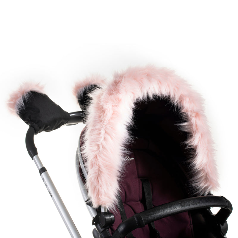 Pink Faux Fur Hood Accessory