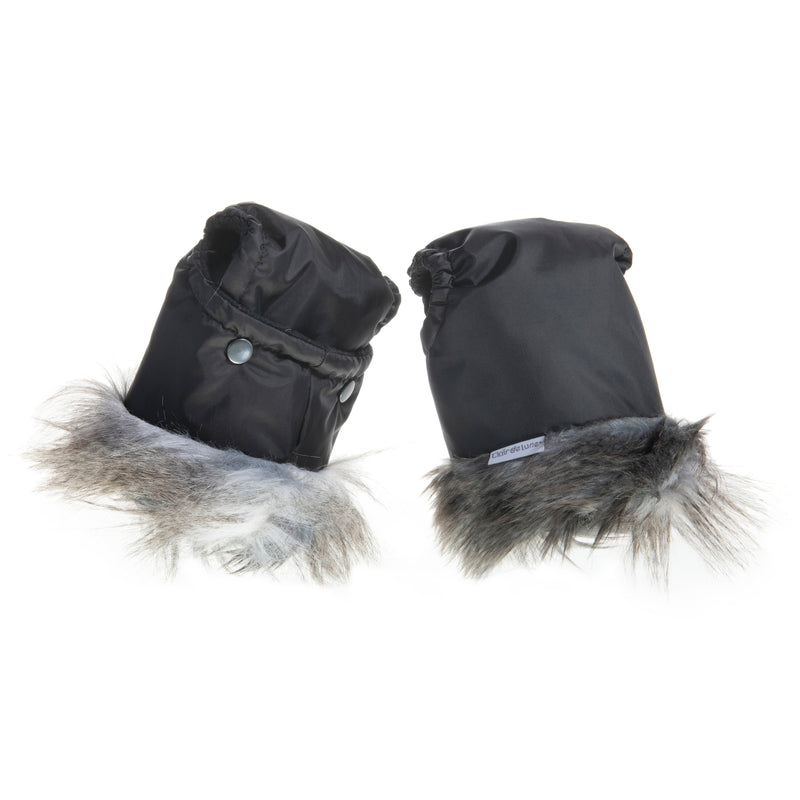 Universal Pushchair/Pram Faux Fur Mittens in Rabbit