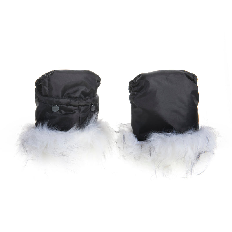 Universal Pushchair/Pram Faux Fur Mittens in Snow Fox