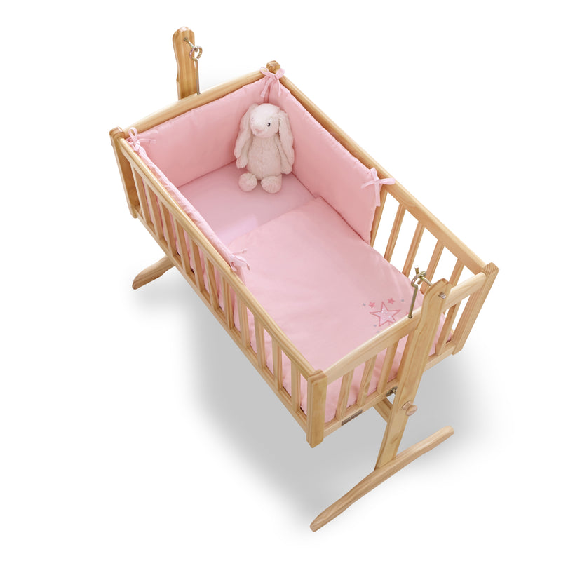 Starburst 2 Piece Crib/Cradle Quilt & Bumper Bedding Set in Pink