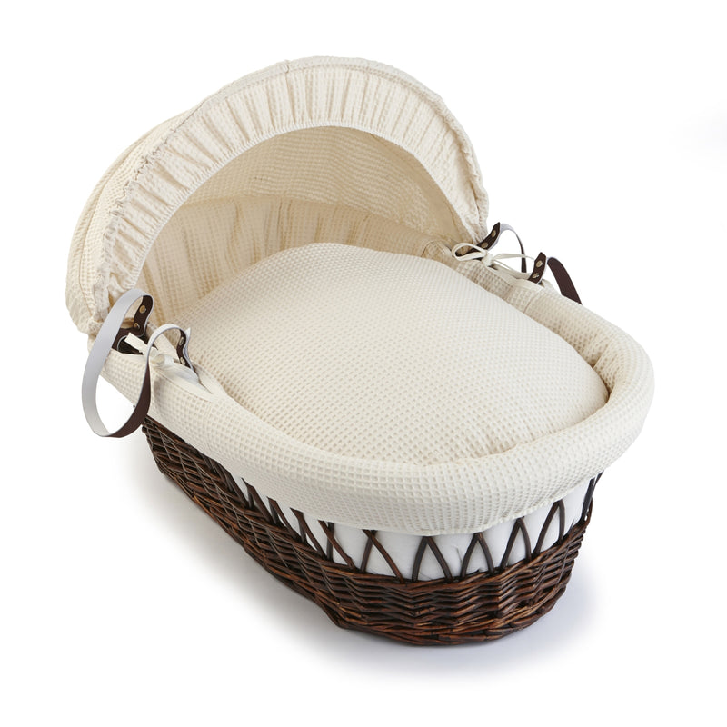 Waffle Dark Wicker Moses Basket in Cream