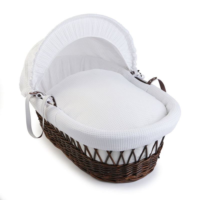Waffle Dark Wicker Moses Basket in White