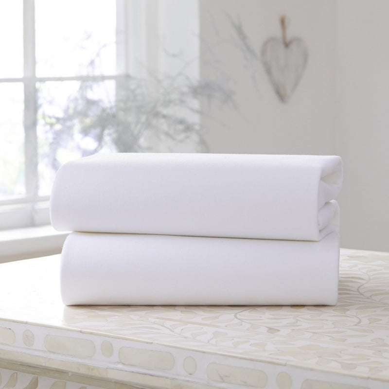 2 Pack Cotton Fitted Pram/Crib Sheets in White
