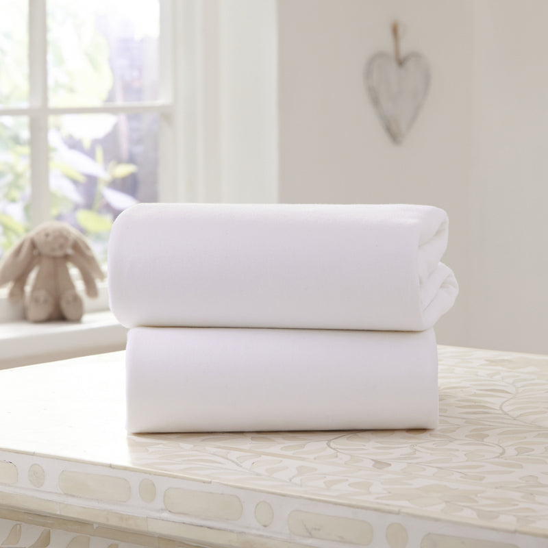 2 Pack White Universal Bedside Crib Fitted Sheets lifestyle