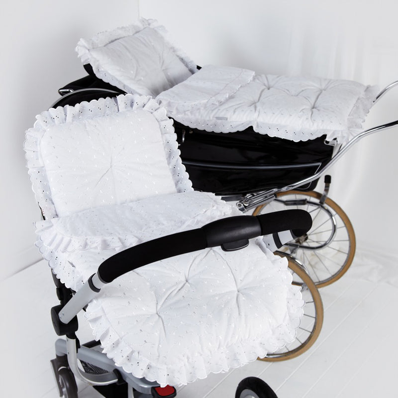 Broderie Anglaise Continental Pram Set in White