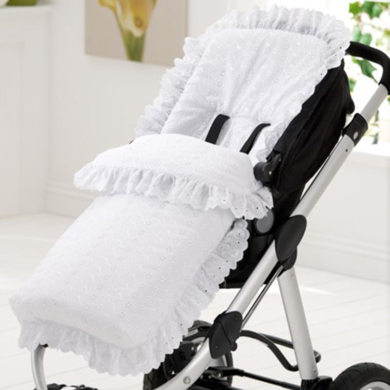 Broderie Anglaise Pushchair Footmuff lifestyle
