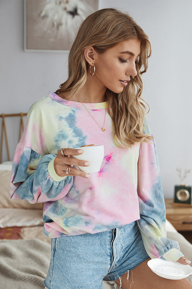 Load image into Gallery viewer, Tie Dye Puff Sleeve Sweater