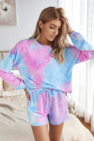 Load image into Gallery viewer, Tie Dye Lounge Set (Pink/Blue)